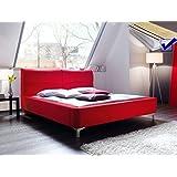 Polsterbett Cloude Bett 180x200 cm Stoffbezug rot + Lattenrost + Matratze Doppelbett Designerbett Schlafzimmer