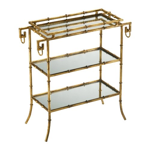 Hollywood Regency Gold Leaf Gilt Bamboo Mirror End Table (Old Hollywood Table compare prices)