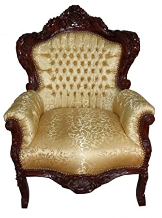 Casa Padrino Baroque Armchair King Gold Pattern / Brown Antique furniture style
