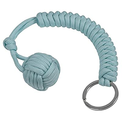 Sky Blue | Glow in the Dark Monkey Fist Paracord Self Defense Keychain- 550 Tensile Military Grade - 9.8 Inch - Dual Corded For Maximum Strength And Durability - Ultimate Survival Tool by Monkey Armor
