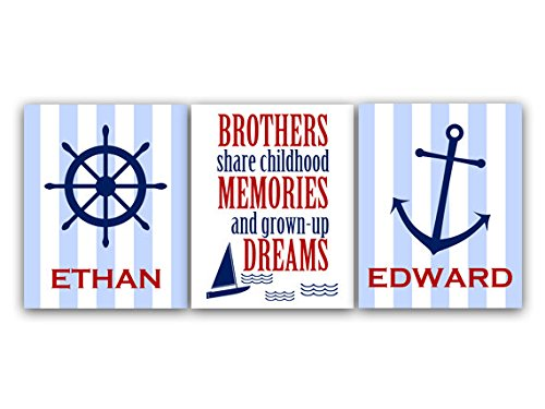 Unframed Prints (Choose Your Sizes) - Kids Art Decor, Brothers Wall Art, Brothers Quote, Personalized Kids Wall Art, Kids Name Art, Twin Boys Wall Art, Nautical Room - Kids79