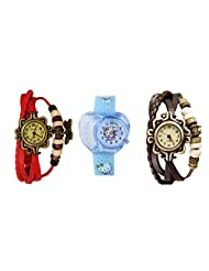ANALOG KIDS WATCH WITH HELLO KITTY CARTOON PRINTED ON DIAL AND STRAP WITH 2 FREE WOMEN BRACELET WATCH-SET OF 3 - B01BF97LJ2