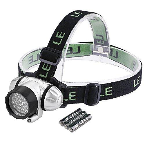 LE Lampe frontale Phares à LED Super lumineux, 18 LED Blanches et 2 LED rouges, 4 choix de niveau de Luminosité