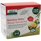 Aleva Naturals Bamboo Baby Sensitive Wipes - Value Bundle (216 Count / Three pack value bundle)