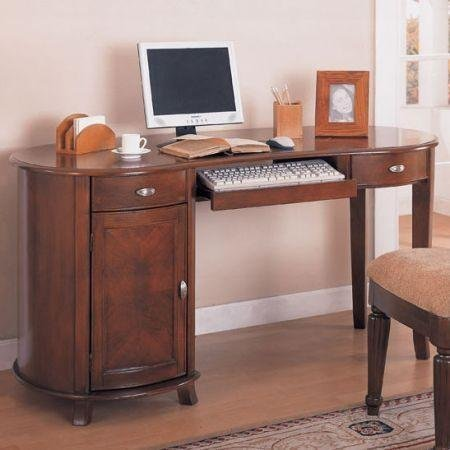 Buy Low Price Comfortable Coaster Riverland Kidney Shaped Single Pedestal Computer Desk (B004UIO97S)