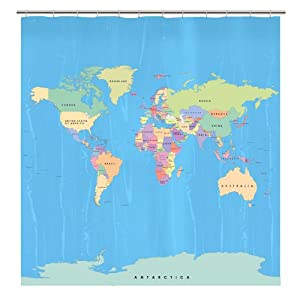 Shower curtains map homes decoration tips - Old world map shower curtain ...
