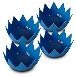 Silicone Egg Poachers (Set of 4) Non Stick Egg Poacher Cups For Perfect Poached Eggs...Blue