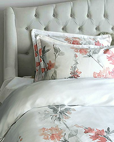 Cynthia Rowley New York Peach and Grey Floral Watercolor Full/Queen Duvet Cover Set