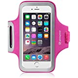 "iPhone 6 Case, Shocksock [Reflective] iPhone 6 Armband, Sports Gym Bike Cycle Jogging Armband with Dual Arm-Size Slots and Key Pocket Custom Made for iPhone 6 (4.7"") (Hot Pink)"