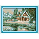 Happy Forever Cross Stitch Kits 11CT Stamped Patterns for Kids and Adults, Preprinted Embroidery kit for Beginner, Scenery View and Landscape (F350 Lakeside Snow House, Size 20''x15'') (Color: F350 Lakeside Snow House, Size 20''x15'')