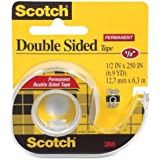 3M Double-Sided Tape with Dispenser, Permanent, 1/2 X 250 Inches, Clear, 2-PACK