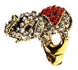 Rosie Fox Crystal Elephant Statement Ring In Gold