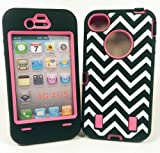 IPhone 4/4S Chevron Case Black & White with Hot Pink - Armored Core Defender - Fast Shipping from USA