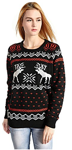 CHRISTMAS Sweater / Cardigan, with Various Lovely Patterns of Reindeer / Snowman / Snowflakes / Tree (S, Deer&Snowflake-Black)