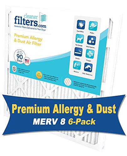 Cleaner Filters 16x25x1 Air Filter, Pleated High Efficiency Allergy Furnace Filters for Home or Office with MERV 8 Rating (6 Pack) (Air Conditioning Filters 16x24x1 compare prices)