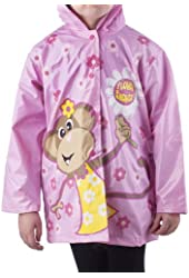 """Girl's Pink """"Floral Monkey"""" Rain Coat - Sizes X-small 4/5 and Small 6/7"""