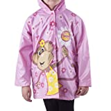 "Girl's Pink ""Floral Monkey"" Rain Coat - Sizes X-small 4/5 and Small 6/7"