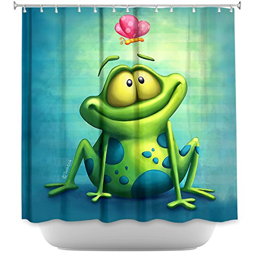 DiaNoche Designs Shower Curtains by Artist Toosh Toosh Unique, Cool, Fun, Funky, Stylish, Decorative Home Decor and Bathroom Ideas - The Frog II