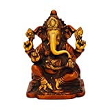 StatueStudio - Ganesh Statue - Red Color - Antique Home Décor - Brass Idol - 6""
