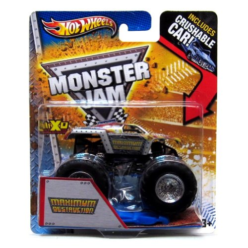 2013 Hot Wheels Monster Jam Monster Truck- Maximum Destruction with Crushable Car! - 1