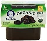 Gerber 1st Foods Organic Prunes, 2-Count, 2.5-Ounce Tubs (Pack of 8)
