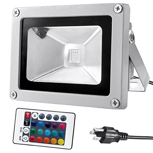 Warmoon 10W Waterproof LED Flood Light with US 3-Plug and Remote, RGB (Exterior Wall Mount Fans compare prices)