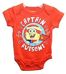 Nickelodeon Spongebob Squarepants CAPTAIN AWESOME Baby Boys Bodysuit Outfit (3-6 Months)