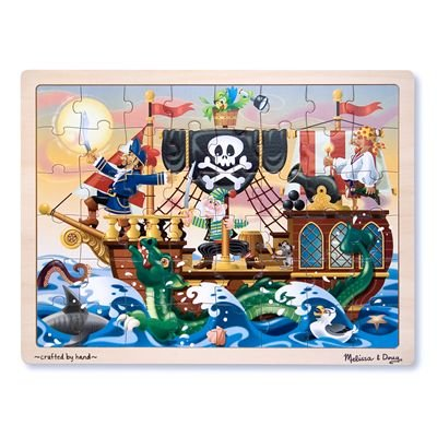 Melissa & Doug Deluxe Wooden 48-Piece Jigsaw Puzzle - Pirates - 1