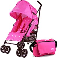 ZETA VOOOM RASPBERRY (DOTS) + Changing Bag (Includes Changing Mat) BUGGY STROLLER PUSHCHAIR WITH LARGE SUN CANOPY HOOD with Rain Cover from Baby Travel