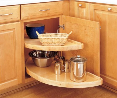 Lazy Susan Half-moon Wood 2 Shelf (Pivot and Slide) for Blind Corner 38