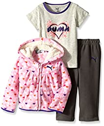 PUMA Baby-Girls 3 Piece Set Jacket Printed Short Sleeve Tee and Solid Pant, Medium Heather Gray, 12 Months