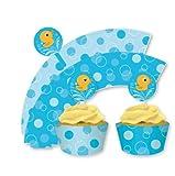 Lil Quack Baby Shower - Rubber Duck Cupcake Wraps & Picks x 12