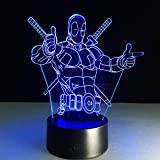 Voorpret Deadpool 3D Illusion Light Optical Bedroom Night Color Change LED Desk Table Lamp