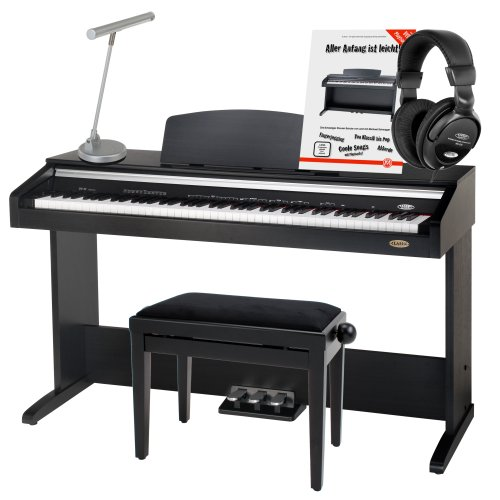 Classic Cantabile DP-30 88-Tasten Digitalpiano (E-Piano, 11 Sounds, USB-Midi Anschluss, Metronom, Pianoleuchte silber matt, Pianobank, Schule ) schwarz matt