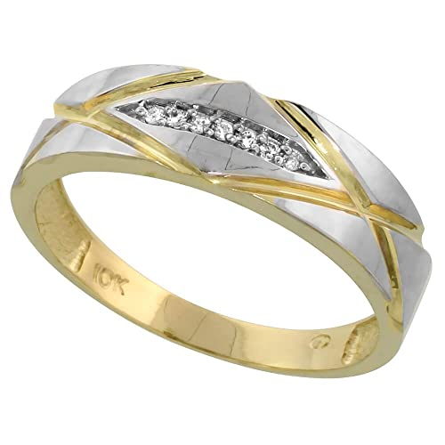 9ct Gold Men's Diamond Band, 6mm Wide