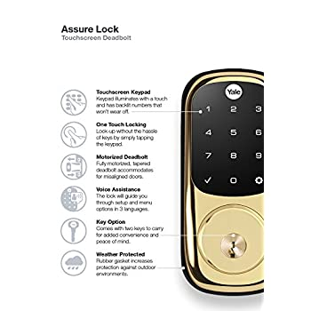 Yale ZigBee Touchscreen Electronic Deadbolt, Works with Amazon Alexa via SmartThings, Polished Brass