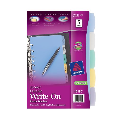 Avery Plastic Durable Write-On Dividers, 5.5 x 8.5 Inches, 5 Tabs, 1 Set (16180)