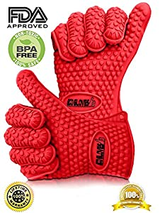♛ #1 Pot Holders ★ 2 High Heat Resistant Cooking Gloves ★ Work Great As Smoking Gloves, Cooking Mitts, Or Kitchen Gloves ★ Also, Excellent for Baking, Grilling, Camping, Oven, Fireplace, Microwave And More ★ Perfect As Barbecue Gloves, Silicone