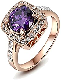 Kaizer Jewelry 18k Rose Gold Plated Cocktail Purple Stone Partywear Ring For Women Girls Gift