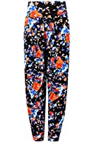 Oops Outlet Womens Ladies Tropical Flowers Floral Printed Ali Baba Bottoms Harem Pants Trousers Leggings Plus Size