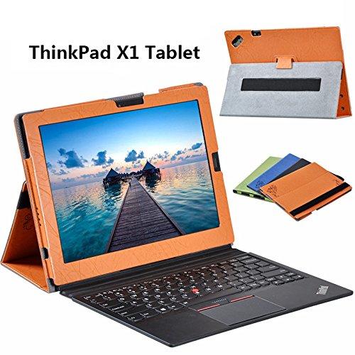 【LIHOULAI】 ThinkPad X1 Tablet 12インチ 専用保護ケース 高級PUレザーカバー 手作りケース スタンド機能付 固定ベルト付 (オレンジ)