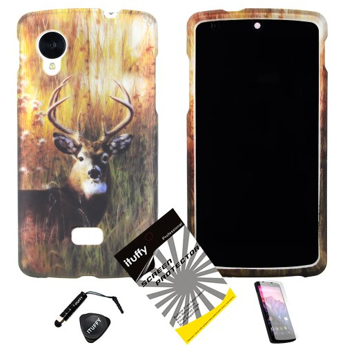 4 Items Combo: Mini Stylus Pen + Lcd Screen Protector Film + Case Opener + Outdoor Wild Deer Grass Camouflage Design Rubberized Snap On Hard Shell Cover Faceplate Skin Phone Case For Lg Google Nexus 5 / Lg D820 At&T, Verizon, Sprint, T-Mobile, And Interna