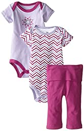 Yoga Sprout Baby-Girls 3 Piece 2 Bodysuits and Pant Set Lotus, Girl Lotus, 9-12 Months