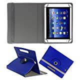ACM ROTATING 360° LEATHER FLIP CASE FOR BSNL PENTA WS802C TABLET STAND COVER HOLDER DARK BLUE