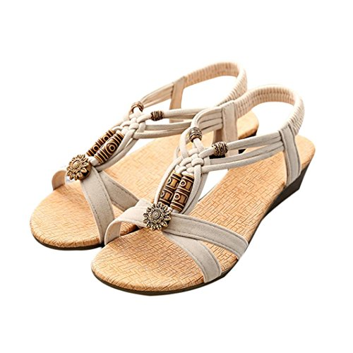 Start Women Casual Roman Summer Sandals Shoes (US=7, Beige)