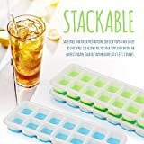 Ice Cube Trays with Lids - Pack of 3 Ice Cube Molds Each Tray & Cover Makes Small, Square Ice Shapes Easy To Push Release! BPA Free Plastic. No Spills, a Clear Silicone Lid Allows To Be Stacked