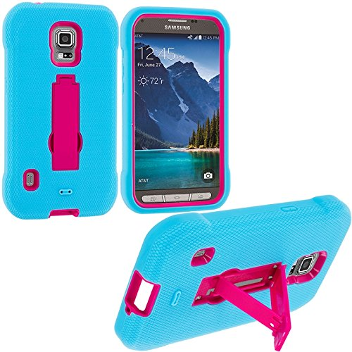 Cell Accessories For Less (Tm) Baby Blue / Hot Pink Hybrid Heavy Duty Hard/Soft Case Cover With Stand For Samsung Galaxy S5 Active - By Thetargetbuys front-854453