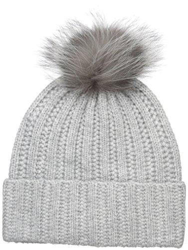 badgley-mischka-womens-cashmere-blend-ladder-stitch-beanie-with-pom-light-grey-silver-fox-one-size