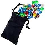 105 Polyhedral Dice For Dungeons And Dragons Or Math Dice Games | Bulk Dice In 15 Complete Sets | RPG Dice Games & D and D | 4 Sided, 6 Sided, 8 Sided, 10 Sided, 12 Sided, 20 Sided and Percentile Dice Included | Multi Colored Sets | Bonus Large Durable Velvet & Satin Dice Bag Included | Money Back Guarantee