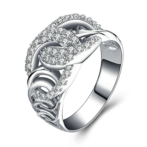 AmDxD Jewelry Silver Plated Women Customizable Rings Twisted?Hollow?Cross?CZ Size 10.5 (Thanos Bottle Opener compare prices)